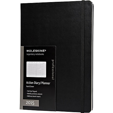 Moleskine 2015 Action Planner, Black, 7-1/2in. x 10in., 12M Action Planner