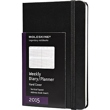Moleskine 2015 Weekly Planner, Black, 3-1/2in. x 5-1/2in., 12M Weekly Planner
