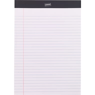 Staples Perforated Note Pads, Wide/Legal Ruled, White, 8 1/2