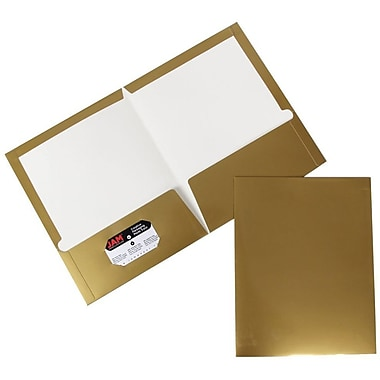 JAM Paper® 9 1/4in. x 11 1/2in. Two Pocket Glossy Folder, Gold,6/Pack