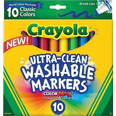 Crayola® Ultra-Clean Markers, Broad Line, 10/Pack