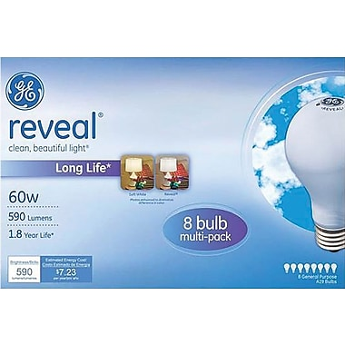 GE reveal 60 Watt A19 Incandescent Light Bulb, 8/Pack