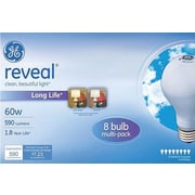 GE reveal® 60 Watt A19 Incandescent Light Bulb, 8/Pack