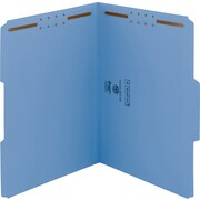 Smead WaterShed/CutLess Fastener Folders, Letter, 1/3 Tab Cut, 11 pt., Blue, 50/ Bx