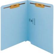 Smead WaterShed/CutLess End Tab Fastener Folders, Letter,  11 pt., Blue, 50/ Bx
