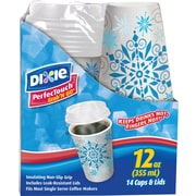 Dixie® PerfecTouch® Grab'N Go Paper Hot Cups & Lids, Holiday Design 14/Pack