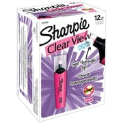 Sharpie Clear View Highlighters, Chisel Tip, Pink, Dozen