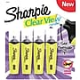 Sharpie Clear View Highlighters, Chisel Tip, Yellow, 4/Pack