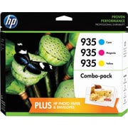 HP 935 C/M/Y Color Ink Cartridges w/ Photo Paper (F6U03FN#1400) Value Combo 3/Pack