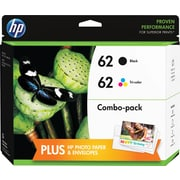 HP 62 Black and Tricolor Ink Cartridges w/Photo Value Kit (F6U00FN#140), Combo 2/Pack