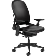 Steelcase Leap Plus, in Black Leather, Black Base, Black Frame, Adjustable Arms, Hard Floor Casters, Chair