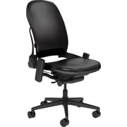 Steelcase Leap Plus, in Black Leather, Black Base, Black Frame, Armless, Hard Floor Casters, Chair