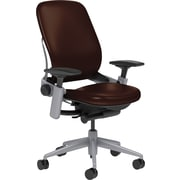 Steelcase Leap Leather, in Mahogany Leather, Platinum Base, Platinum Frame, Adjustable Arms, Carpet Casters, Chair