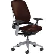 Steelcase Leap Leather, in Mahogany Leather, Platinum Base, Platinum Frame, Adjustable Arms, Hard Floor Casters, Chair