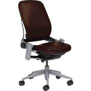 Steelcase Leap Leather, in Mahogany Leather, Platinum Base, Platinum Frame, Armless, Carpet Casters, Chair