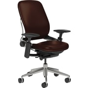 Steelcase Leap Leather, in Mahogany Leather, Polished Aluminum Base, Polished Aluminum Frame, Adjustable Arms, Casters, Chair