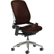 Steelcase Leap Leather, in Mahogany Leather, Polished Aluminum Base, Polished Aluminum Frame, Armless, Carpet Casters, Chair