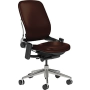 Steelcase Leap Leather, in Mahogany Leather, Polished Aluminum Base, Polished Aluminum Frame, Armless, Hard Floor Casters, Chair