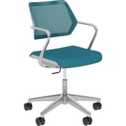 Steelcase QiVi, in Cogent Connect Blue Jay, Platinum Metallic Base, Platinum Frame, Fixed Arms, Hard Floor Casters, Chair