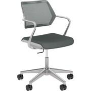 Steelcase QiVi, in Cogent Connect Graphite, Platinum Metallic Base, Platinum Frame, Fixed Arms, Carpet Casters, Chair