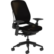 Steelcase Leap Leather, in Black Leather, Black Base, Black Frame, Adjustable Arms, Carpet Casters, Chair