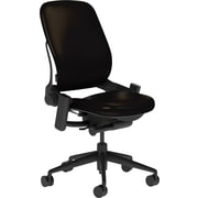Steelcase Leap Leather, in Black Leather, Black Base, Black Frame, Armless, Hard Floor Casters, Chair