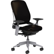 Steelcase Leap Leather, in Black Leather, Platinum Base, Platinum Frame, Adjustable Arms, Carpet Casters, Chair