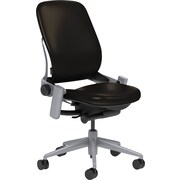 Steelcase Leap Leather, in Black Leather, Platinum Base, Platinum Frame, Armless, Carpet Casters, Chair