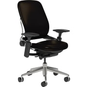 Steelcase Leap Leather, Black Leather, Polished Aluminum Base, Polished Aluminum Frame, Adjustable Arms, Carpet Casters, Chair