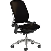Steelcase Leap Leather, in Black Leather, Polished Aluminum Base, Polished Aluminum Frame, Armless, Carpet Casters, Chair