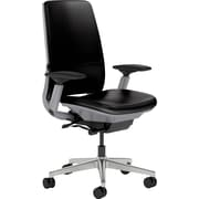 Steelcase Amia Leather, in Black Leather, Aluminum Base, Platinum Frame, Adjustable Arms, Carpet Casters, Chair