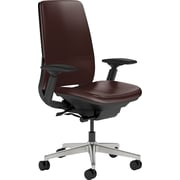 Steelcase Amia Leather, inMahogany Leather, Aluminum Base, Black Frame, Adjustable Arms, Hard Floor Casters, Chair