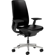 Steelcase Amia Leather, in Black Leather, Aluminum Base, Black Frame, Adjustable Arms, Hard Floor Casters, Chair