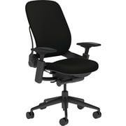 Steelcase Leap, in Cogent Connect Licorice, Black Base, Black Frame, Adjustable Arms, Hard Floor Casters, Chair