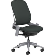 Steelcase Leap, in Cogent Connect Graphite, Platinum Base, Platinum Frame, Armless, Carpet Casters, Chair