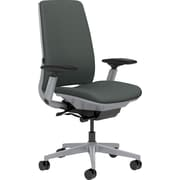 Steelcase Amia, in Cogent Connect Graphite, Platinum Base, Platinum Frame, Adjustable Arms, Hard Floor Casters, Chair