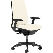 Steelcase Amia, in Cogent Connect Coconut, Black Base, Black Frame, Adjustable Arms, Hard Floor Casters, Chair