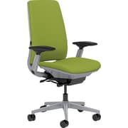 Steelcase Amia, in Cogent Connect Wasabi, Platinum Base, Platinum Frame, Adjustable Arms, Hard Floor Casters, Chair