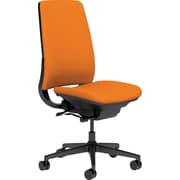 Steelcase Amia, in Cogent Connect Tangerine, Black Base, Black Frame, Armless, Carpet Casters, Chair