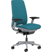 Steelcase Amia, in Cogent Connect Blue Jay, Platinum Base, Platinum Frame, Adjustable Arms, Carpet Casters, Chair