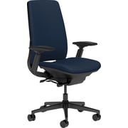 Steelcase Amia, in Cogent Connect Blueprint, Black Base, Black Frame, Adjustable Arms, Hard Floor Casters, Chair