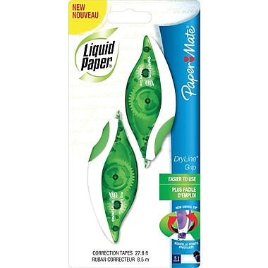 Paper Mate Liquid Paper® Dryline® Grip Correction Tape, Non-Refillable, 1/5in. x 335in., 2/Pack