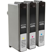 Staples Remanufactured C/M/Y Color Ink Cartridges, Lexmark 100 (SIL-R100CMYDS), Combo 3/Pack