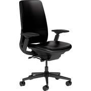 Steelcase Amia Leather, in Black Leather, Black Base, Black Frame, Adjustable Arms, Carpet Casters, Chair
