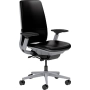 Steelcase Amia Leather, in Black Leather, Platinum Base, Platinum Frame, Adjustable Arms, Hard Floor Casters, Chair