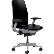 Steelcase Amia Leather, in Black Leather, Platinum Base, Platinum Frame, Adjustable Arms, Carpet Casters, Chair