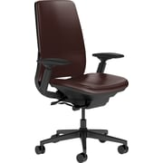 Steelcase Amia Leather, in Mahogany Leather, Black Base, Black Frame, Adjustable Arms, Hard Floor Casters, Chair