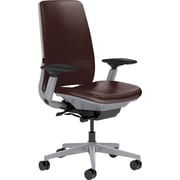 Steelcase Amia Leather, in Mahogany Leather, Platinum Base, Platinum Frame, Adjustable Arms, Carpet Casters, Chair