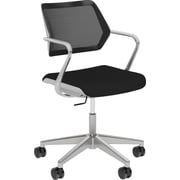Steelcase QiVi, in Cogent Connect Licorice, Platinum Metallic Base, Platinum Frame, Fixed Arms, Hard Floor Casters, Chair