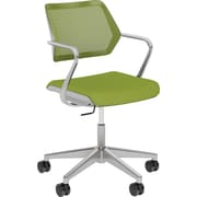 Steelcase QiVi, in Cogent Connect Wasabi, Platinum Metallic Base, Platinum Frame, Fixed Arms, Carpet Casters, Chair